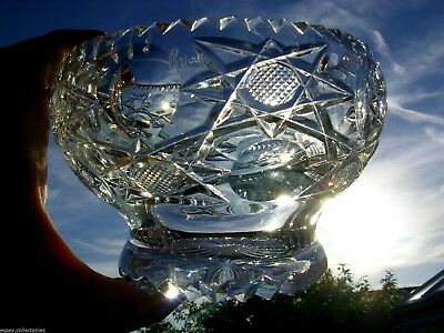 Royal Brierley Rose Bowl Large Heavy Handmade Vintage Lead Crystal