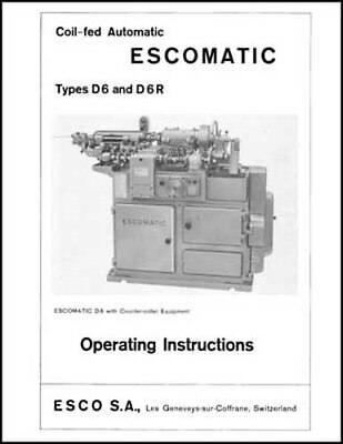 Esco Escomatic D6 and D6R Operating Instructions