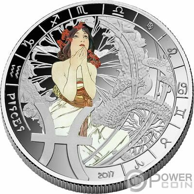 PISCES Zodiac Signs Mucha Edition Silver Plated Coin 500 Francs Benin 2017