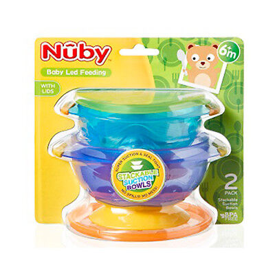 Nuby Stackable Suction Bowls Baby Weaning Spill Proof Food Container with Lids