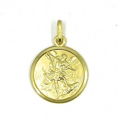 18K YELLOW GOLD PENDANT SQUARE MEDAL GUARDIAN ANGEL 15 MM ENGRAVABLE ITALY MADE