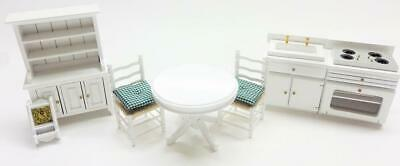 Melody Jane Dolls House White Kitchen Dining Furniture Set Wooden 1:12 Scale