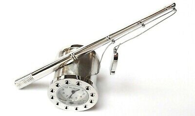 NOVELTY MINIATURE FISHING CLOCK-Fishing Rod with Reel in SATIN SILVER-Boxed-NEW
