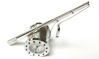 NOVELTY MINIATURE FISHING CLOCK -Fishing Rod with Reel in SATIN SILVER-Boxed-NEW