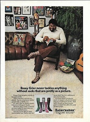 1973 Rosey Grier Needlepoint Interwoven Socks Ad