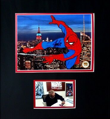 Stan Lee Signed Spider-Man Deluxe Marvel Sericel Framed With Photo