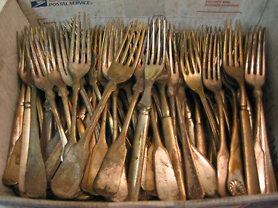 Vintage Silverplate Craft Flatware Lot of 100 BADLY WORN Dinner Forks