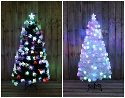 WHITE RAINBOW LED FIBRE OPTIC CHRISTMAS TREE MULTI COLOURED 3ft 5ft 6ft XMAS NEW