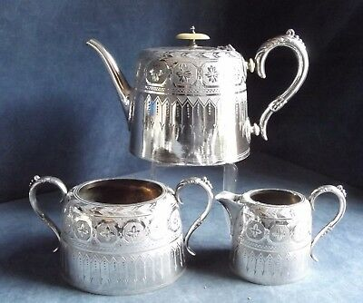 SUPERB ~ SILVER Plated ~ GOTHIC Engraved ~ TEA SET ~ c1890 by William Briggs