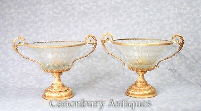 Pair French Empire Crystal Glass Urns Tureens Dishes