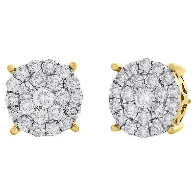 14K Yellow Gold Genuine Round Diamond 4 Prong Cluster Stud 12.25mm Earrings 2 CT