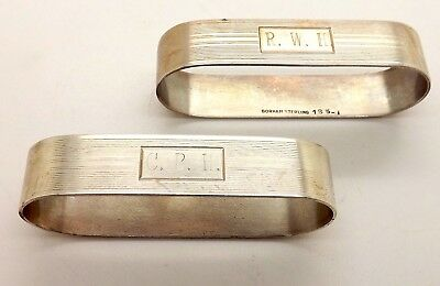 Pair Of Antique Gorham Sterling Silver Napkin Rings #185 *Light Monogram*