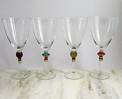 Set of 4 Clear Glass Water Goblets Each With A Different Gem Colored Stem Accent