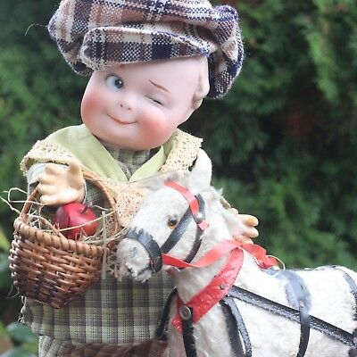 ANTIQUE BISQUE DOLL WINKER PORCELAIN DOLL 1915s CLOSED MOUTH w PULL HORSE