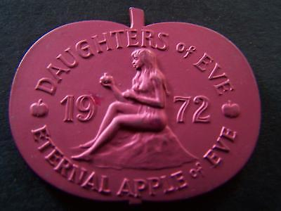 1974 Daughters of Eve Brushed Red Aluminum Apple Mardi Gras Doubloon