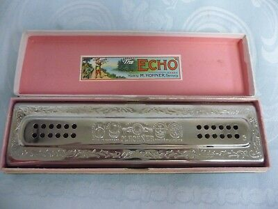 LARGE VINTAGE ECHO HARMONICA w/ORIGINAL BOX, M. HOHNER, MADE IN GERMANY