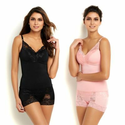 Rhonda Shear Pin-Up Lace Trim Knit Padded Camisole 2Pc Black Pink 3X NEW 527-888