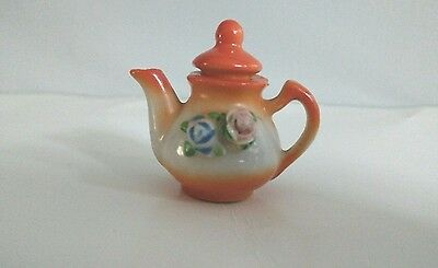 Vintage miniature Teapot Made In Occupied Japan Ceramic Doll House Estate Sale