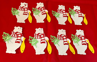 Christmas Bear Die Cuts * Bear with Scarf, Fish, and Tree * Set of 8! White Bear