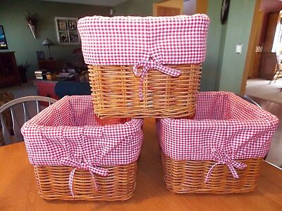 Three Pottery Barn Kids/nursery Sabrina Storage Baskets W/ Red Gingham Liners