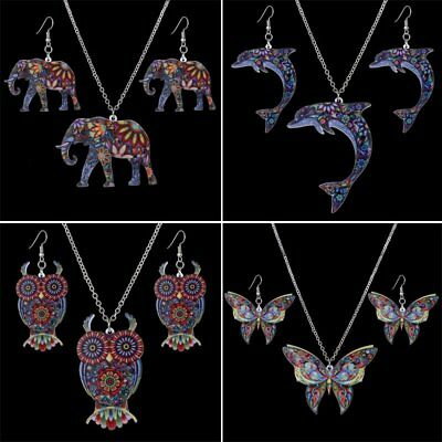 Rainbow Printing Pattern Butterfly Elephant Owl Earrings Necklace Set Jewelry