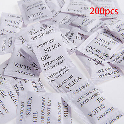 200 Packets of Silica Gel Sachets Desiccant Pouches Granules Absorb Moisture New