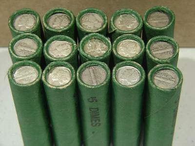 1 Unsearched Shotgun Roll 1916-1945 PDS Mercury Silver Dime Roll of 50 Coins
