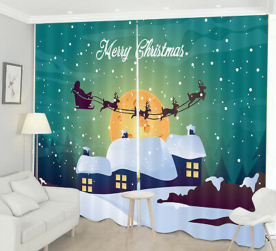 Santa Xmas Sleigh 3D Blockout Photo Printing Decor Curtain Fabric Window Drapes