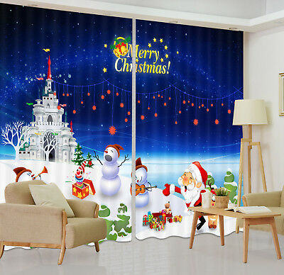 Xmas Castle Party 3D Blockout Photo Printing Decor Curtain Fabric Window Drapes