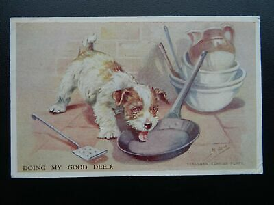DOG Sealyham Terrier Puppy DOING MY GOOD DEED by Mabel Gear c1954 Postcard