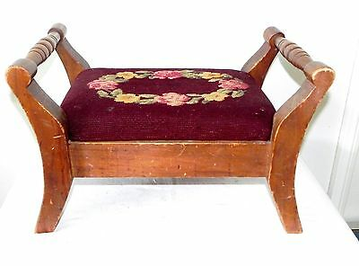 Vintage 2 Double Handled Maple Wood Wooden Needlepoint Tapestry FootStool Stool