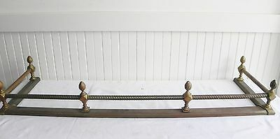Antique Victorian Brass Iron Fireplace Fire Hearth Fender Gate Flame Tip Twisted