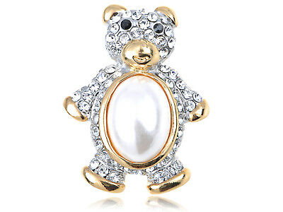 Crystal Elements Faux Pearl Body Huggable Friend Teddy Bear Pin Brooch ALA
