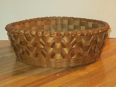 Antique Great Lakes Area Native American Indian Split Ash Basket With Curls