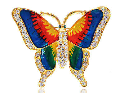 Crystal Elements Vibrant Colorful Painted Butterfly Fashion Pin Brooch