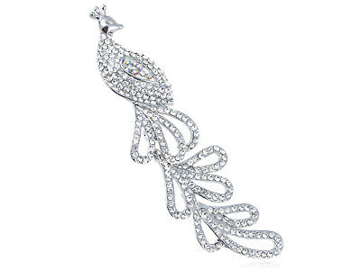 Crystal Elements Peaceful Long Tail AB Accent Peacock Bird Pin Brooch