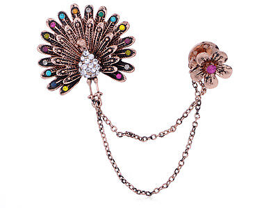 Dangling Flower Multicolored Rhinestone Copper Tone Peacock Fashion Brooch