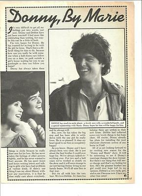 Donny and Marie Osmond, Full Page Vintage Clipping Ad, Osmonds