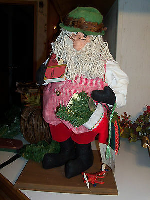"Christmas Santa Vintage Handcrafted - One of a Kind Santa 20"" Tall on Wood Base"