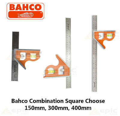 Bahco Combination Set Square Stainless Steel Ruler Choose 150mm, 300mm, 400mm