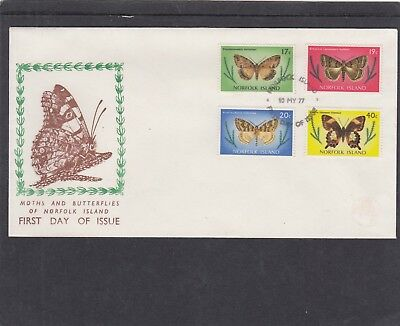 Norfolk Island 10.05.1977 Butterflies 4 values First Day Cover FDC Norfolk I h/s