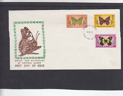 Norfolk Island 05.07.1977 Butterflies 4 values First Day Cover FDC Norfolk I h/s