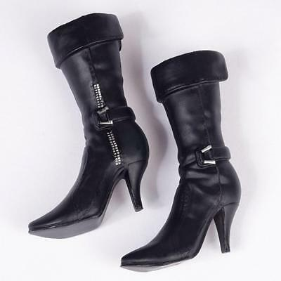1/6 Black High Heeled Mid Boots Shoes for 12'' Hot Toys Phicen Kumik Figure