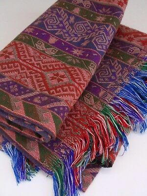 Vintage Hand Crafted Woven Loomed Decorative Blanket Red Green Blue Middle East