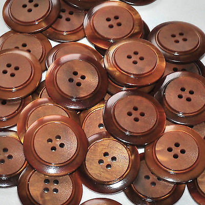 lot de 5 boutons ronds plastique marron noisette 26mm button