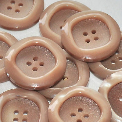 lot de 5 boutons ronds plastique marron beige irisé 26mm button