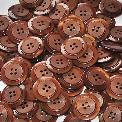 lot de 5 boutons ronds plastique marron noisette 22mm button
