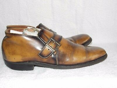 Vintage BUCKLE Brown Leather Mod Strap Shoes For Men 7.5C Used