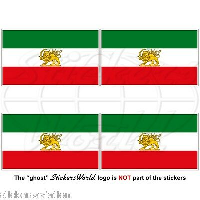 "Iran PERSIA, Former Iranian Flag, Persian 50mm (2"") Vinyl Stickers Decals x4"