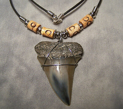 "Huge 2 1/16"" Mako Shark Tooth Teeth Necklace Fossil Jaw Megalodon Fishing"